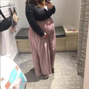Pink and black maternity dress